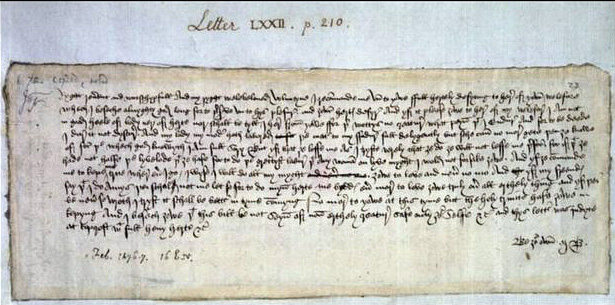 This is the oldest known Valentine's Day message in English. It was written in 1477